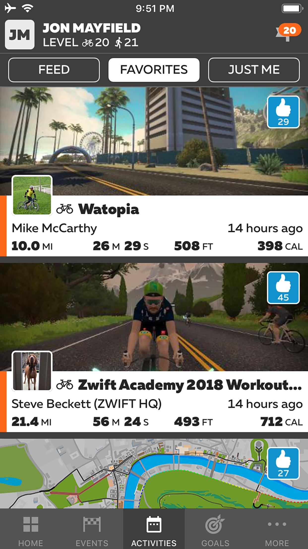 Screenshot do app Zwift Companion