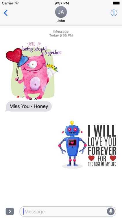 Love Quotes with Monster,Robot,Dinosaur Characters screenshot-3