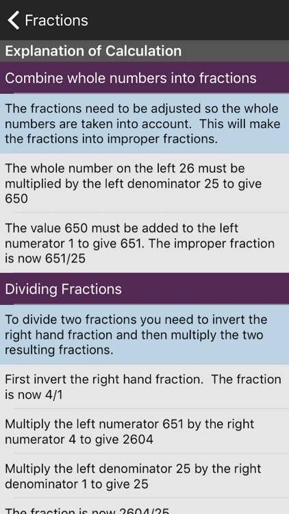 Fractions Calculator