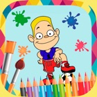 Football paint coloring book icon