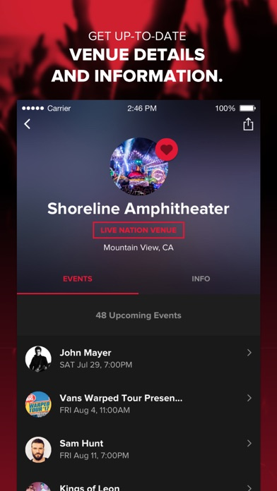 Live Nation For Concert Fans review screenshots