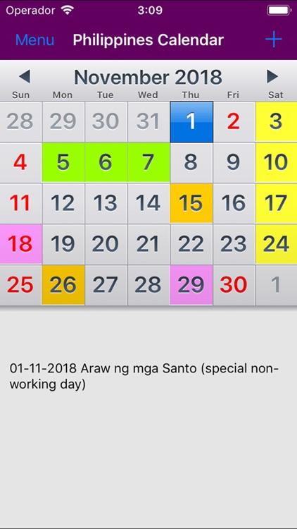 2018 Philippines Calendar