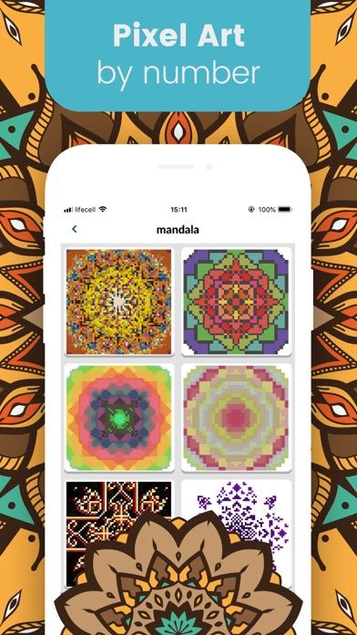 Kaleidoscope Pixel Art Mandala Screenshot on iOS