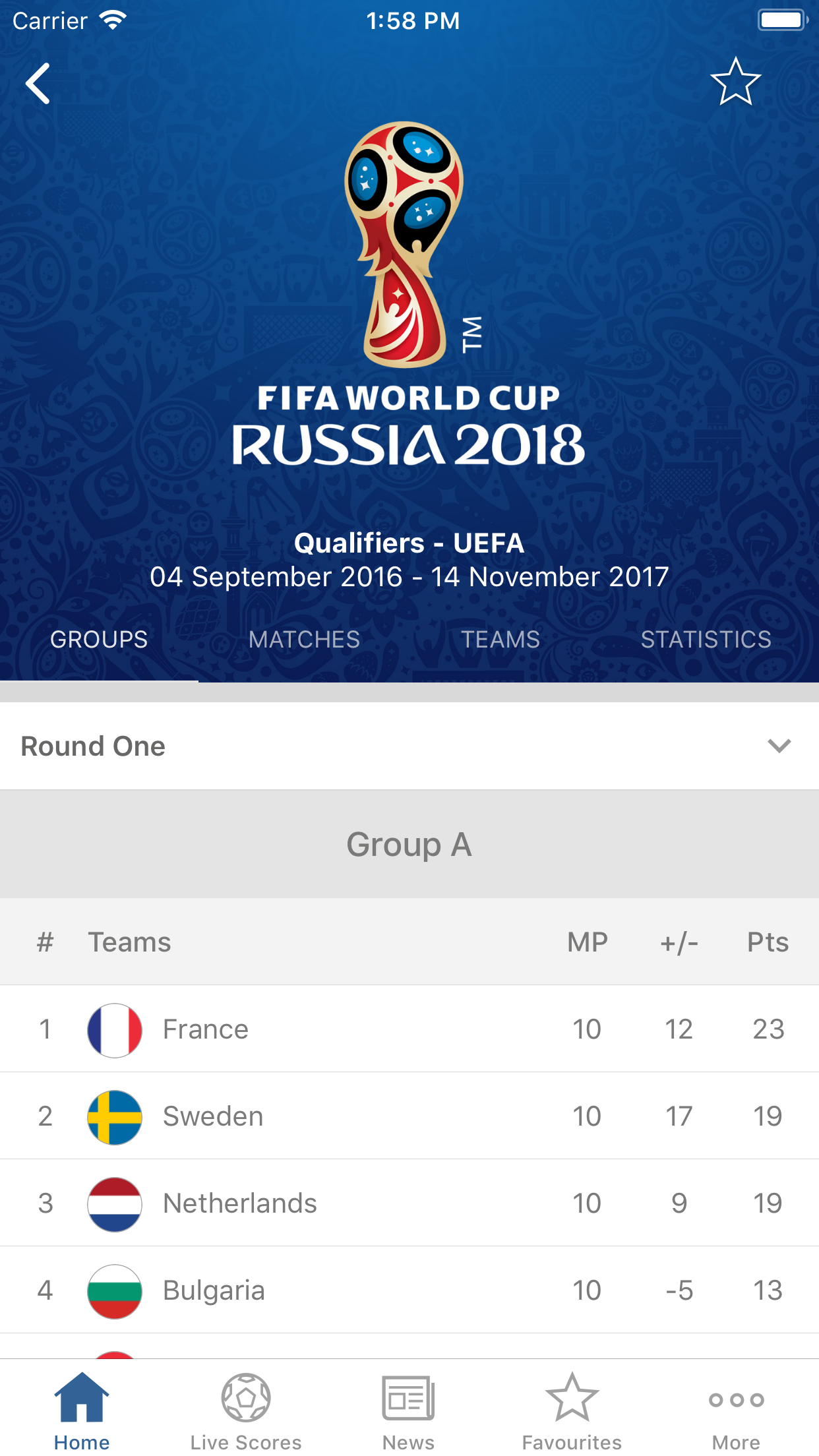 FIFA Official App Screenshot