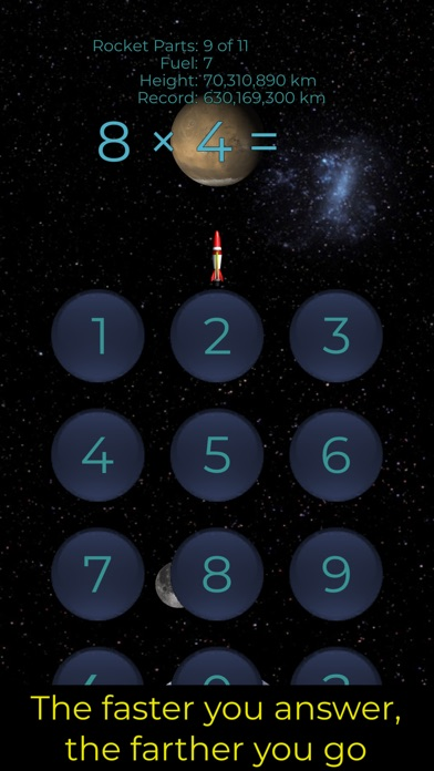 Screenshot of Rocket Arithmetic Times Tables App