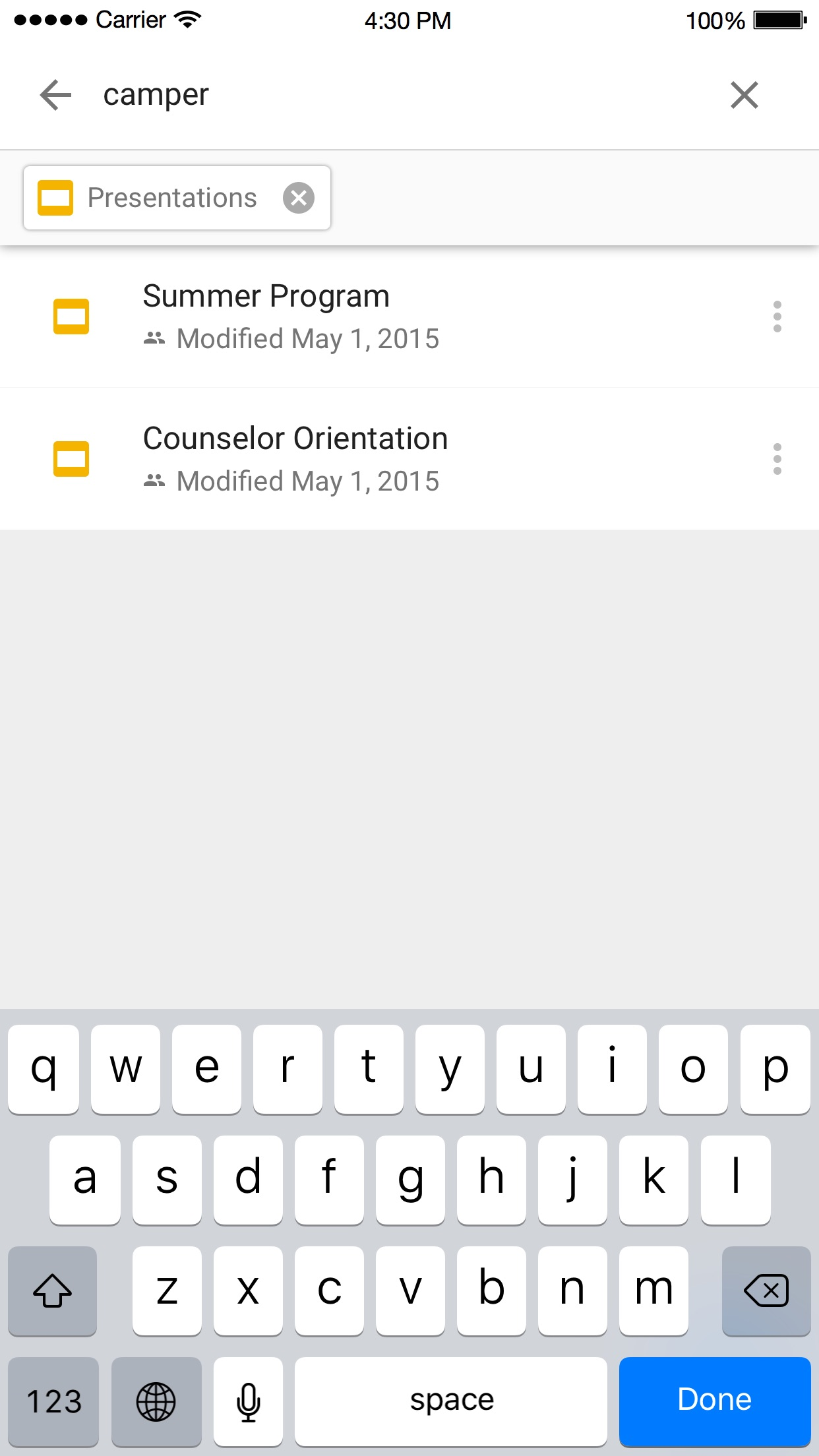 Screenshot do app Google Drive - armazenamento