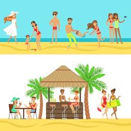 Beach Vacation Summer Stickers