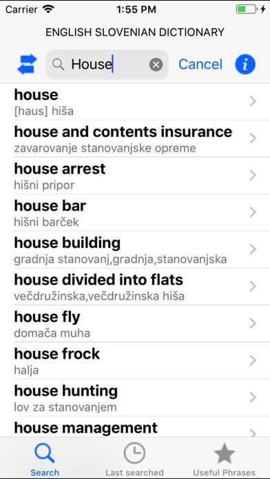 Eng Slo, Slo Eng dictionary screenshot two