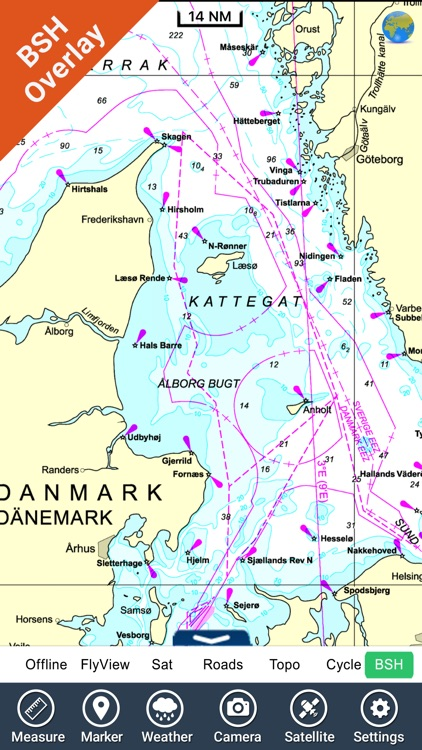 Marine Kattegat GPS chart fishing map navigator screenshot-0