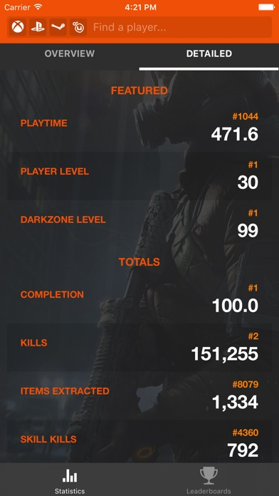 TRN Stats for The Division app image