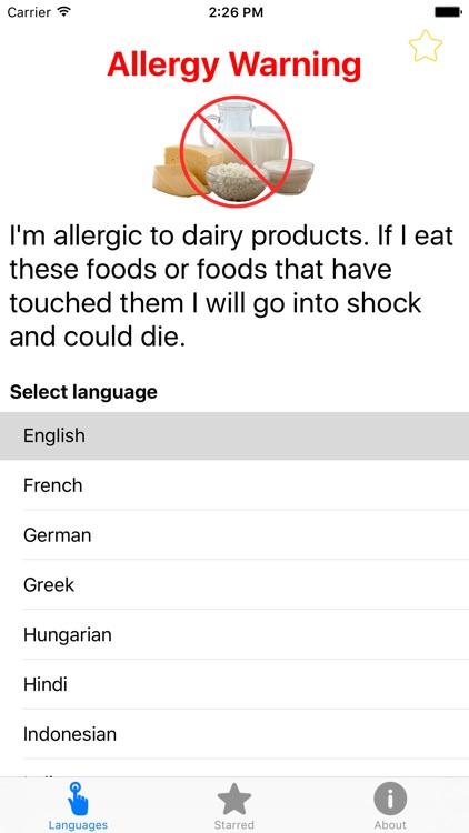 Dairy Allergy Translation Card