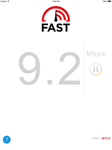 Screenshot of FAST Speed Test
