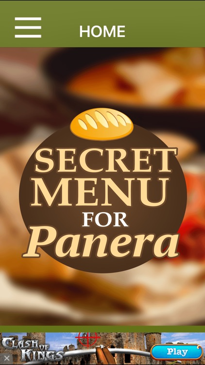 Secret Menu For Panera Bread App