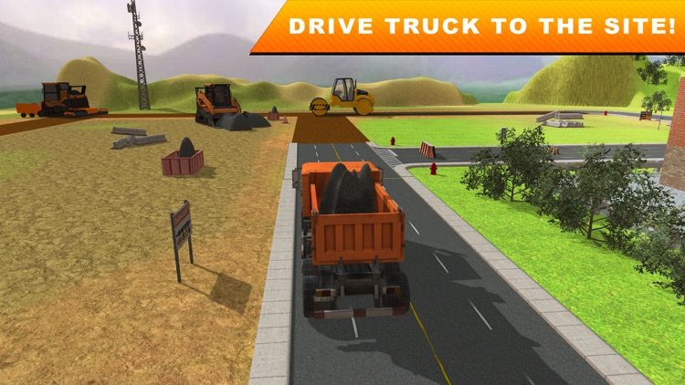 road builder construction city 3d real excavator crane and