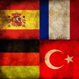 Spanish German English Turkish Language Set