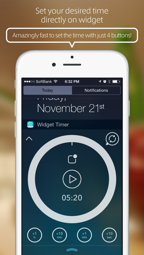 Widget Timer - Simple Kitchen Timer for Notification Center App 截图