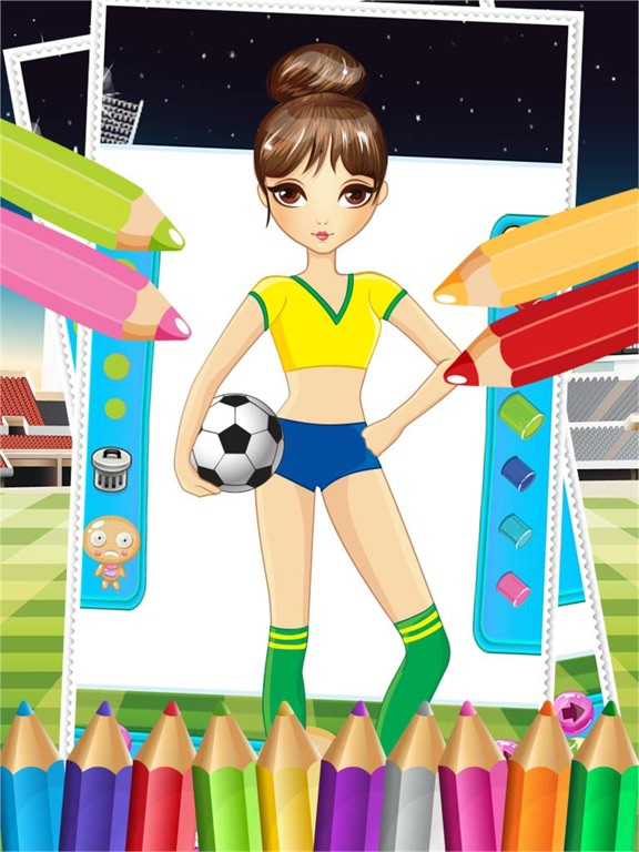 Pretty Girl Fashion Sport Coloring World Paint And Draw Football