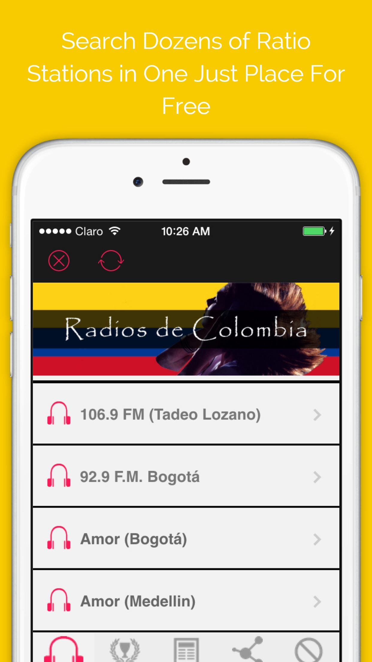 'A Colombia Radio Stations Online: The Best Internet Radios in AM and FM with all kind of music Screenshot