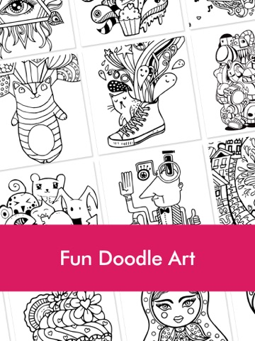Doodle Coloring Book for Adults & Kids: Free Fun Coloring Games with ...
