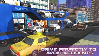 La policía camión de transporte de coches - coche camión y entregar los vehículos de policíaCaptura de pantalla de3
