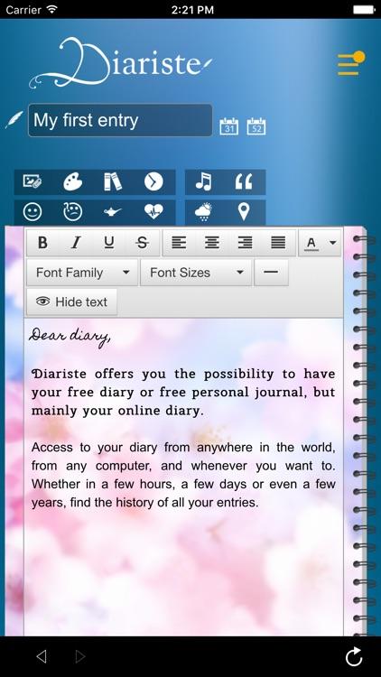 Diariste.com - Diary, Personal journal