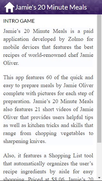 App Guide for Jamie's 20 Minute Meals