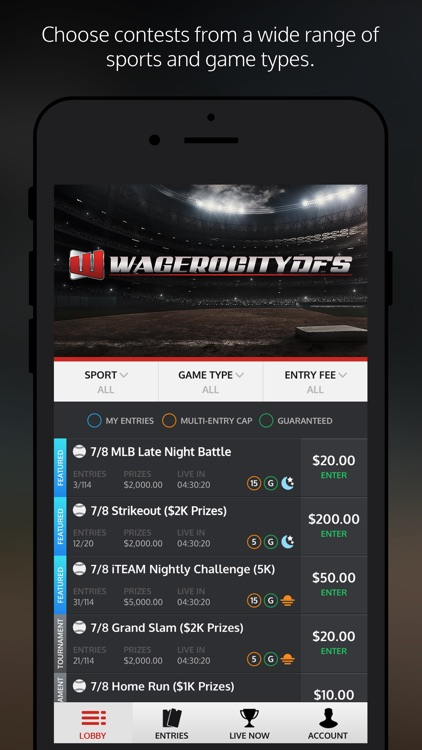 wagerocitydfs one day fantasy sports leagues by wagerocity