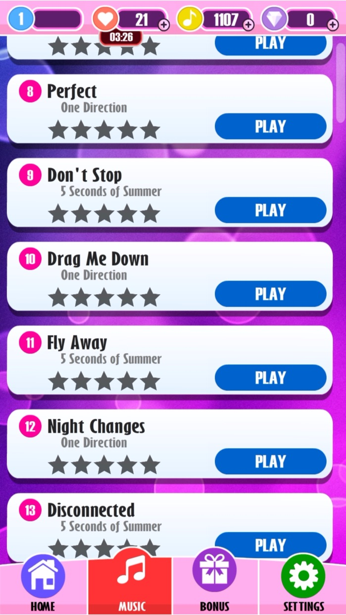 Piano Tiles - 1D & 5SOS (One Direction and 5 Seconds of Summer) Edition Screenshot