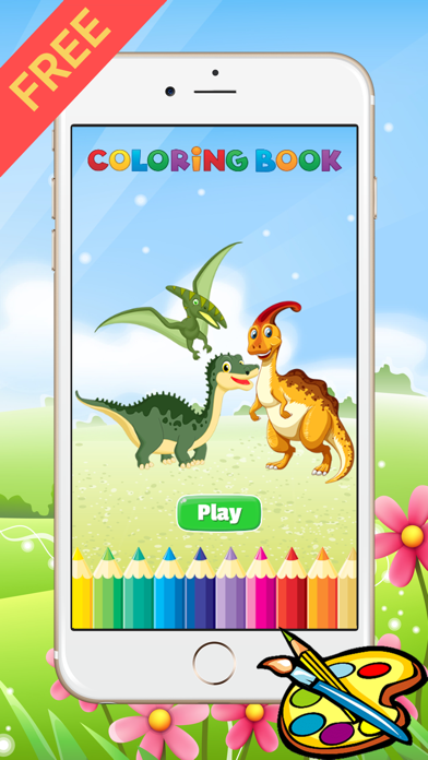 Dinosaur Dragon Coloring Book - Drawing for kid free game, Dino Paint and color games good screenshot one