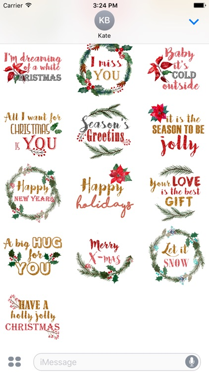 Christmas Messages Stickers - by Maraquela