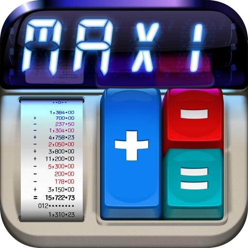 MaxiCalc Pro: Big Retro LCD Paper Tape Calculator