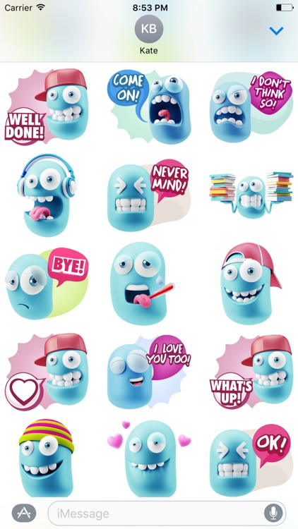 3D Blue Smiley Stickers
