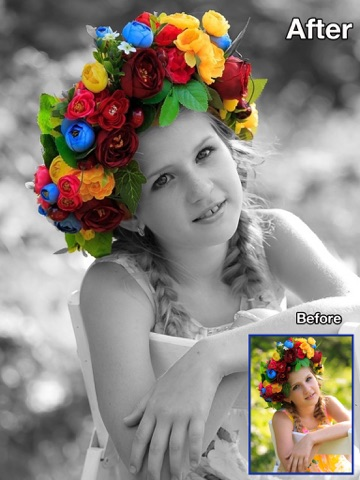 Screenshot #1 for Color Recolor Effects - Photo Splash FX and Paint Highlights into Black & White Pictures