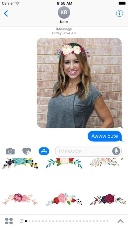 Selfie Flower Crown Stickers
