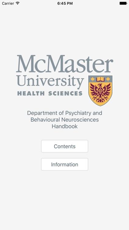 McMaster Psychiatry Handbook
