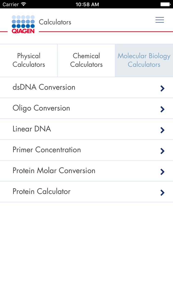 QIAGEN App Screenshot