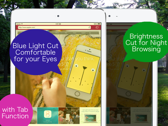 Blue Light Cut Browser AceColor for iPad screenshot one