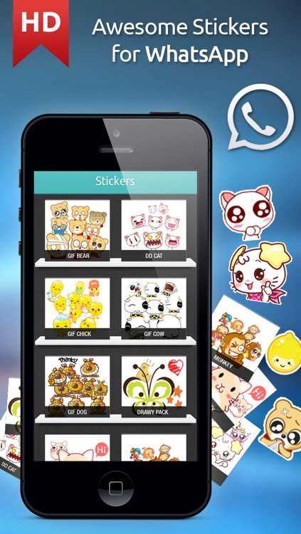 Great Stickers for WhatsApp, Viber, Line, Tango, Snapchat, Kik & WeChat Messengers - Pro Edition
