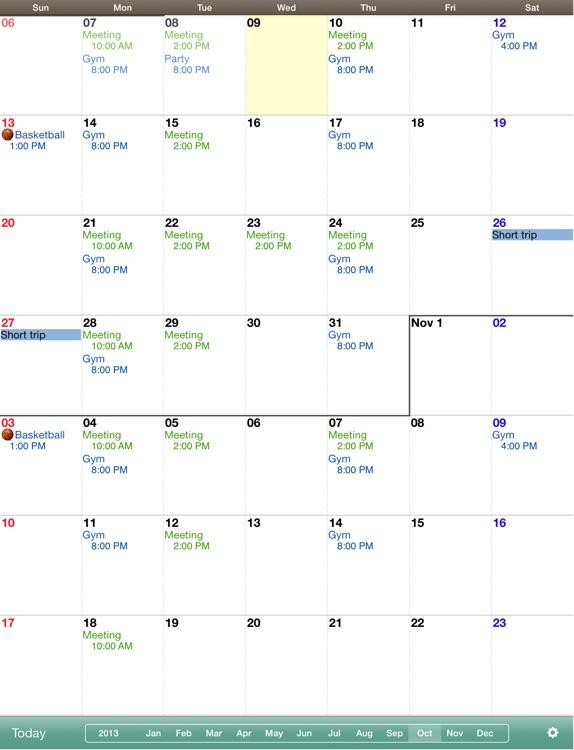 Monthly Calendar MocaHD