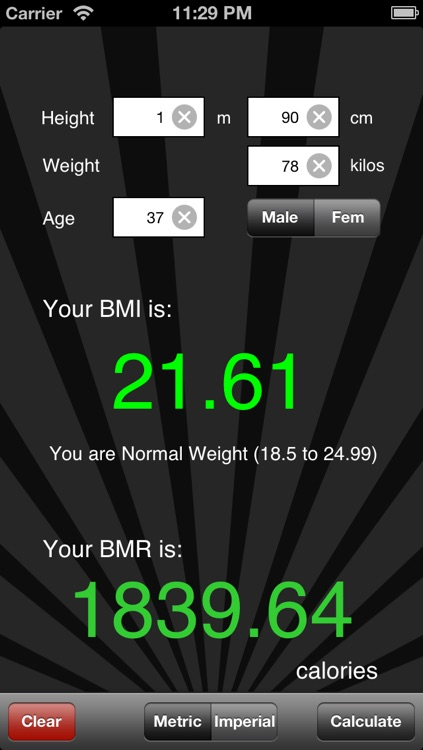 BMI / BMR Calculator