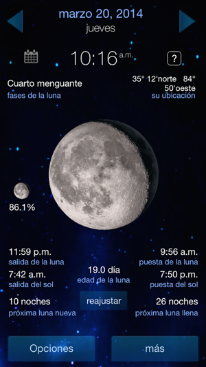 pronosticador del tiempo y el calendario de fases lunares