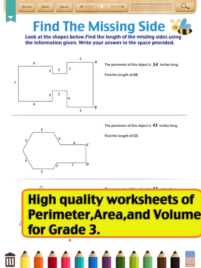Kids Math-Area&Perimeter Worksheets(Grade 3) on the App Store
