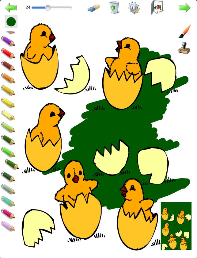 çocuklar Için Paskalya Boyama Kitabı Yumurta Tavşan Tavuk Ve