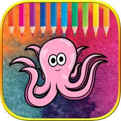 Okul öncesi öğrenme Kitapları Boyama Sevimli Deniz Hayvanları App