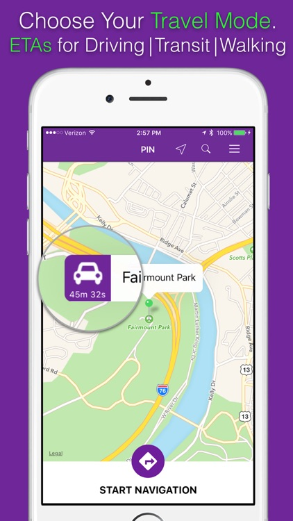 PIN - GPS Navigation with Realtime Traffic, Public Transit Directions, and Transportation Route
