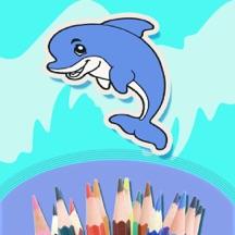 幼儿儿童绘画画画教育绘本 - 宝宝给海洋世界里的动物涂色并认识颜色的家庭游戏