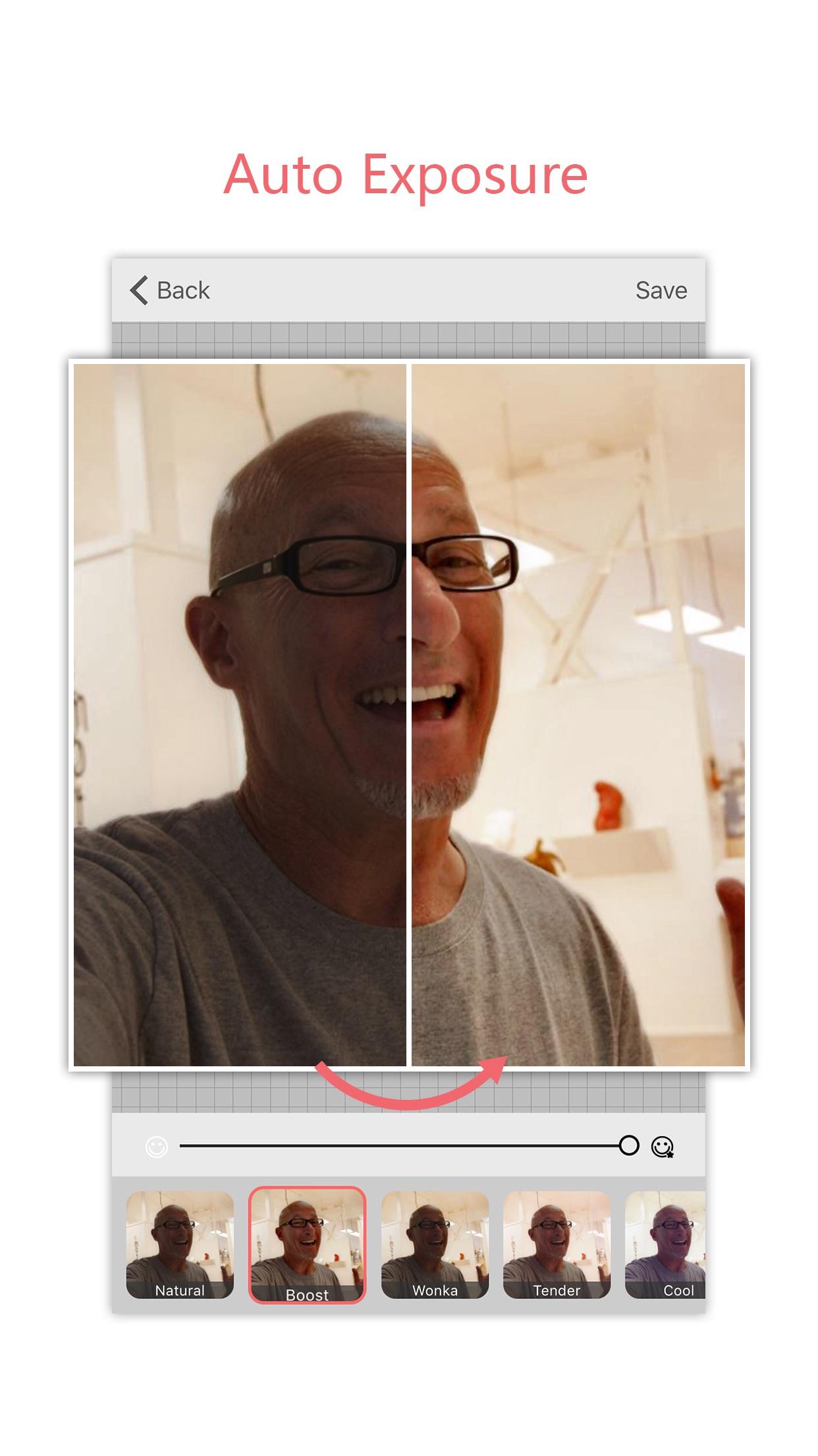 Screenshot do app Microsoft Selfie