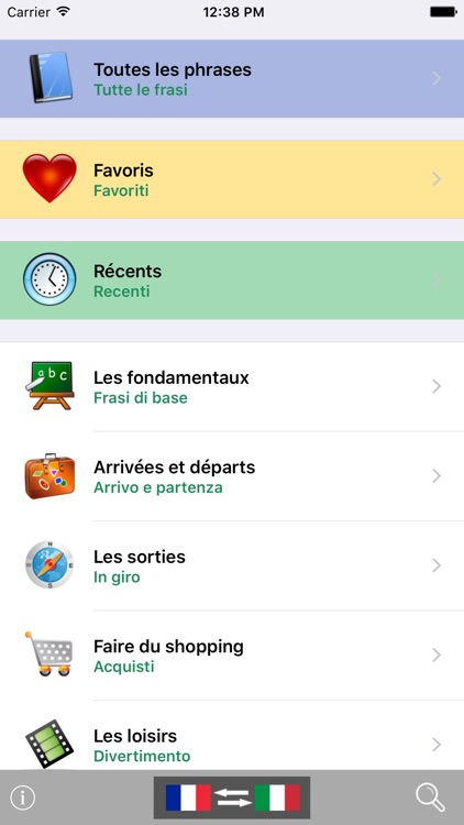 French / Italian Talking Phrasebook Translator Dictionary - Multiphrasebook screenshot-0