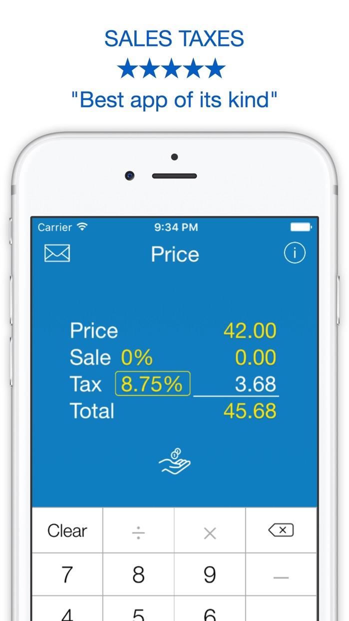 Sales Tax, Discount Calculator, Tip and Price Shopping Calculator Screenshot