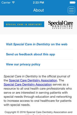 Screenshot of Special Care in Dentistry